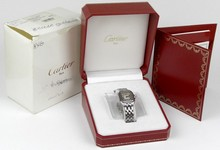 Cartier Panthere Ladies Square Faced Stainless Steel Watch