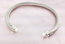 David Yurman 5mm Pearl And Diamond Cable Classics Bracelet