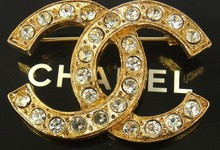Authentic Chanel Vintage Cc Logos Brooch Pin Gold-tone Rhinestone Corsage