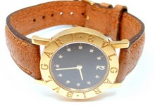 Bvlgari 12 Diamonds 18k Yellow Gold Leather Watch Bb 26 Gl