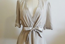 Bcbg Max Azria Silk Cream Wrap Blouse