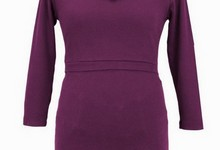 New Japanese Weekend Maternity Chic Boatneck Plum Nursing Top