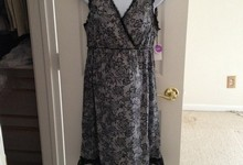 Nwt Beautiful Black Floral Maternity / Nursing Gown - Bump In The Night