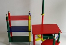 Kids Pencil Desk W/ Drawer Chair Bookcase & Coat Rack Primary Colors