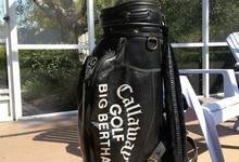 Huge Vintage Black Leather Callaway Big Bertha Cart Carry Golf Bag
