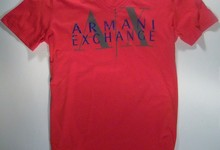 Armani Exchange A/x Mens Red Logo V-neck T-shirt