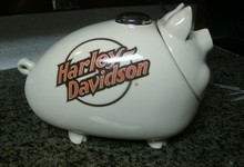 Harley Davidson Hog Cookie Jar Collectible 1984 Pig Gas Tank