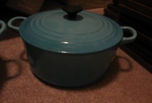 Vintage Le Creuset Cast Iron Green Enameled Round Dutch Oven Pot France