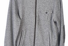 Hugo Boss L Gray Cotton Ls Mock Neck Jacket