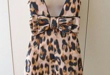 Red Valentino Blush Leopard Print Bow Dress