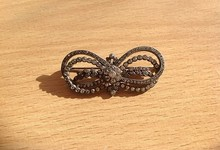 Fine Antique Solid Silver Ribbon & Bow Paste Brooch C1880- 1900