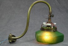 Antique Art Nouveau Brass Gas Lamp Wall Light Iridescent Glass Shade