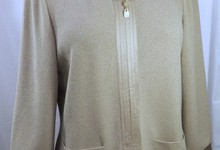 St John Collection Beige Santana Knit Tunic Jacket