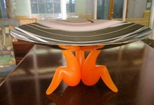 Alessi Chrome And Orange Plastic Abstract Art Footed Bowl