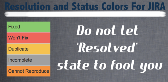 Resolution and Status Colors for JIRA