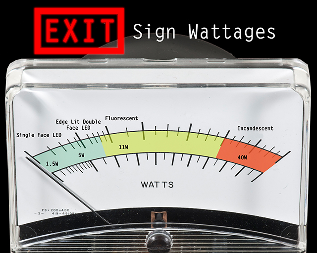 Wattage For Types Of Exit Signs Infographic