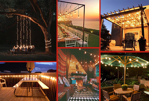 Various areas to use patio string lights