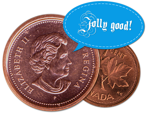 Queen Elizabeth on one cent coin - Jolly Good!