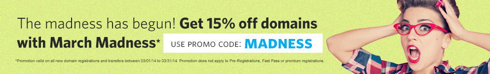 Get 15% percent off domains with March Madness