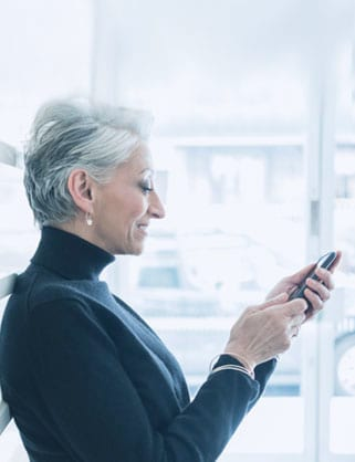 woman working on phone