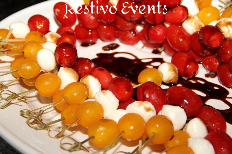 Red Yellow Tomato Caprese Skewers with Balsamic Syrup