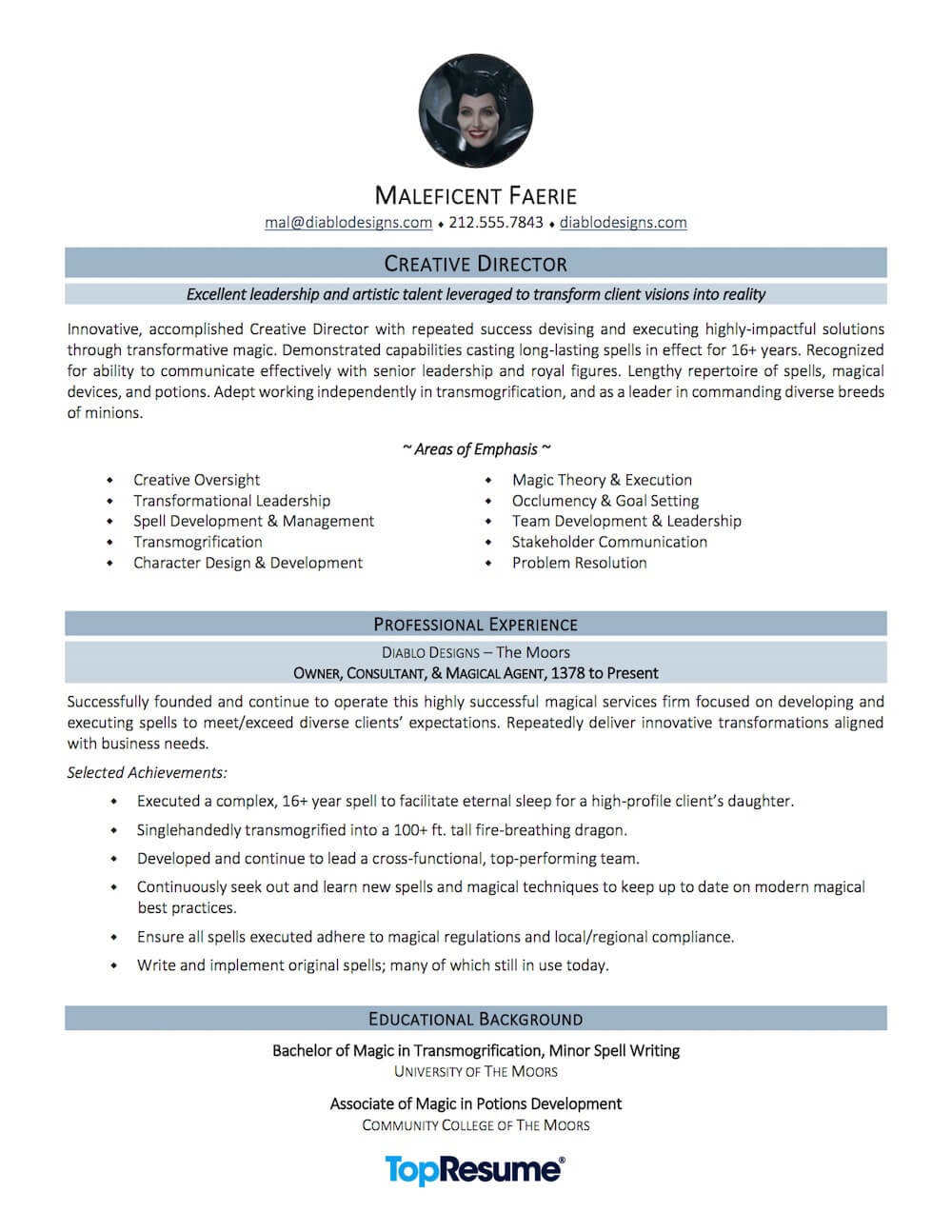 Career Change Resume Sample Maleficent