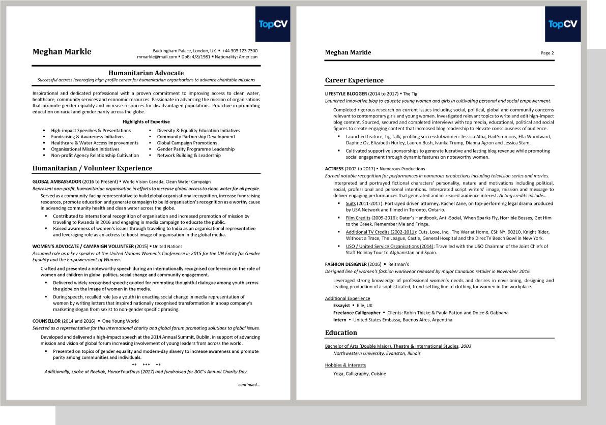 Meghan Markle CV Template