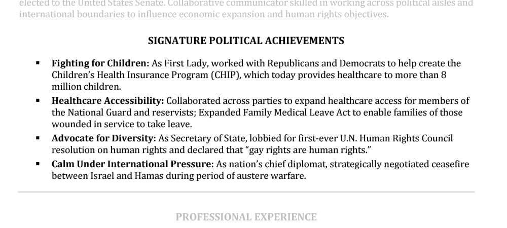 senior resume achievements sample hillary clinton
