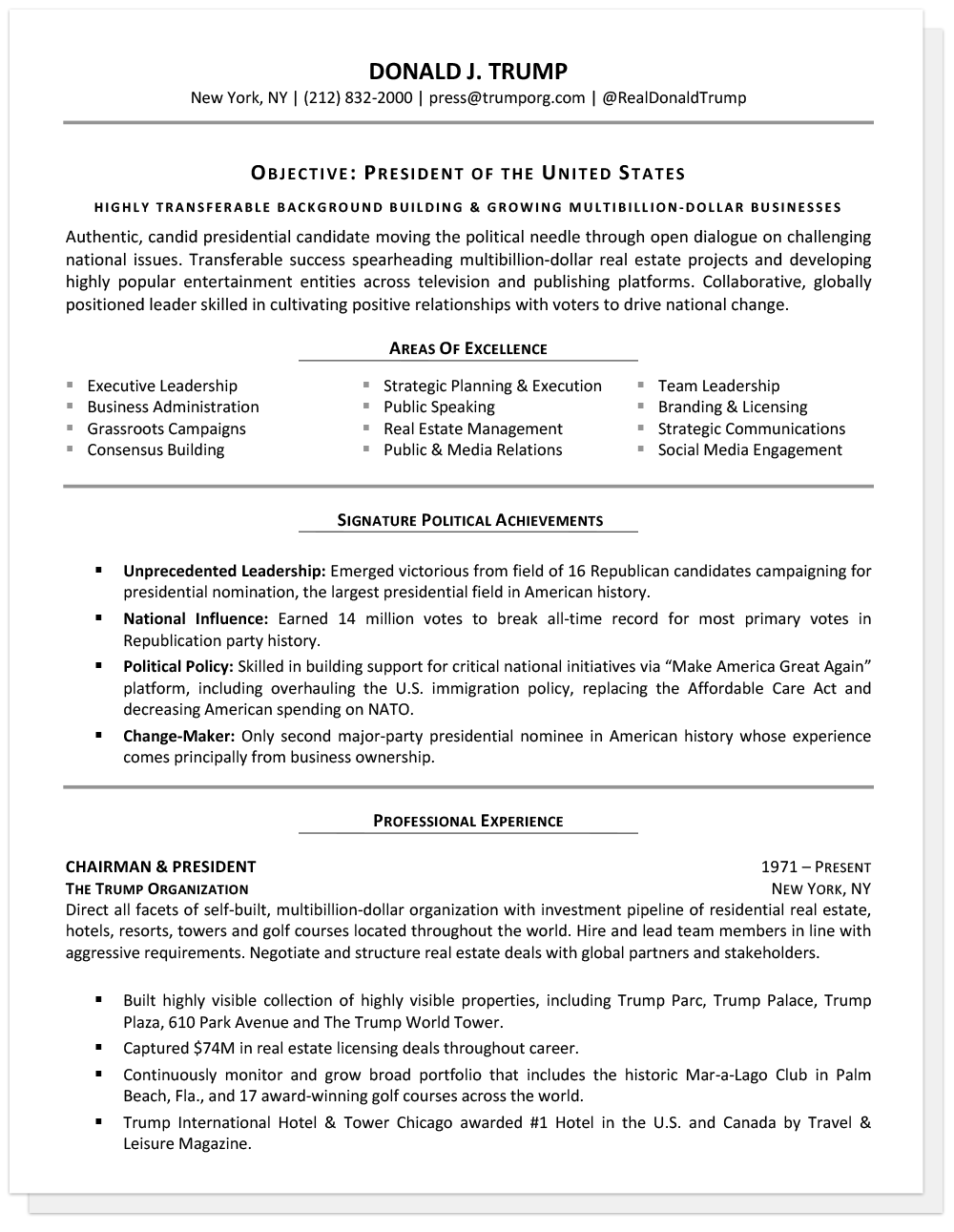 sample senior resume hillary clinton sample senior resume donald trump - Top Resume