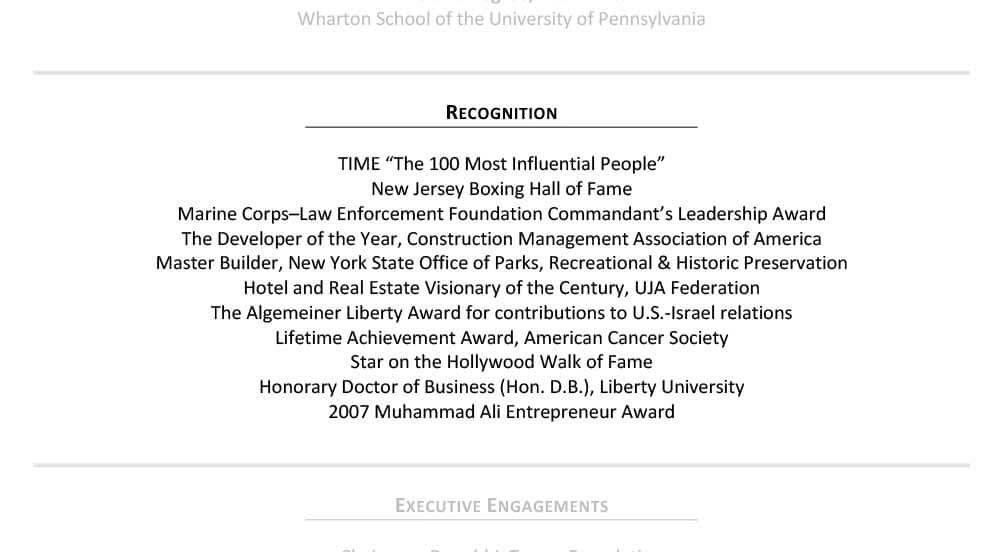 Sample Senior Resume Recognition Section Donald Trump