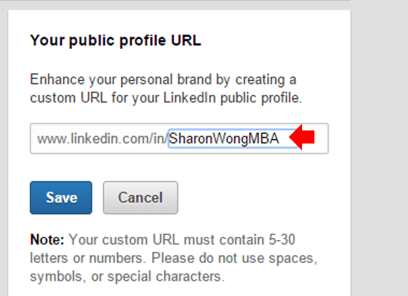 Personalize LinkedIn Profile URL: Step 3