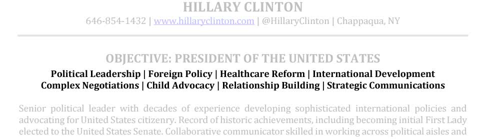 Senior Resume Areas of Expertise Sample Hillary Clinton