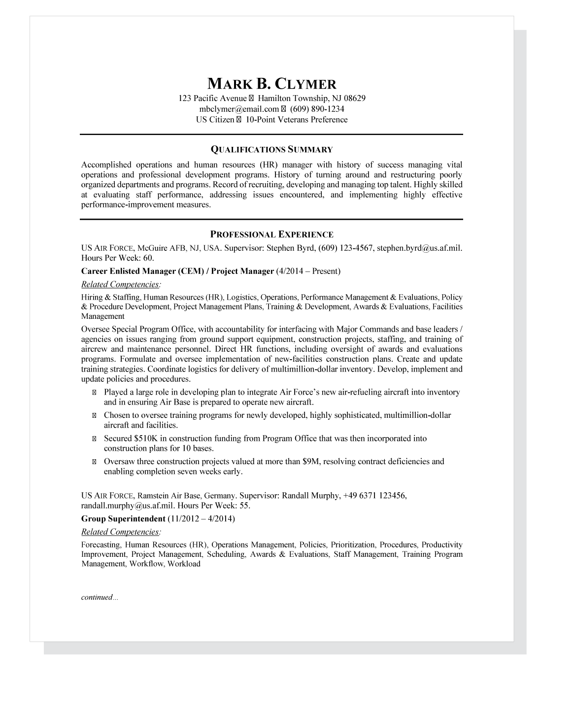 Federal Resume Sample