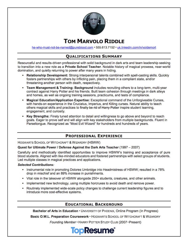 Career Change Resume Sample Voldemort