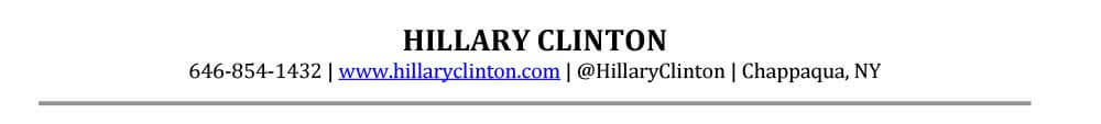 Senior Resume Header Sample Hillary Clinton