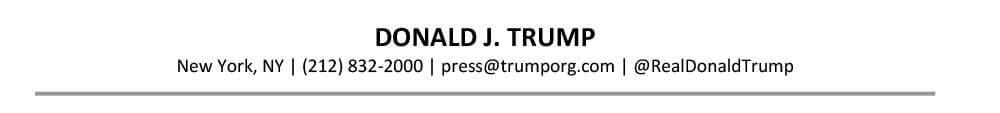 Senior Resume Header Sample Donald Trump