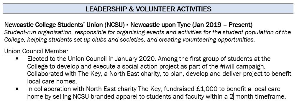 entry-level cv example volunteer experience