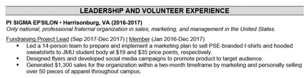 Sample Volunteer Experience on Entry-Level Resume