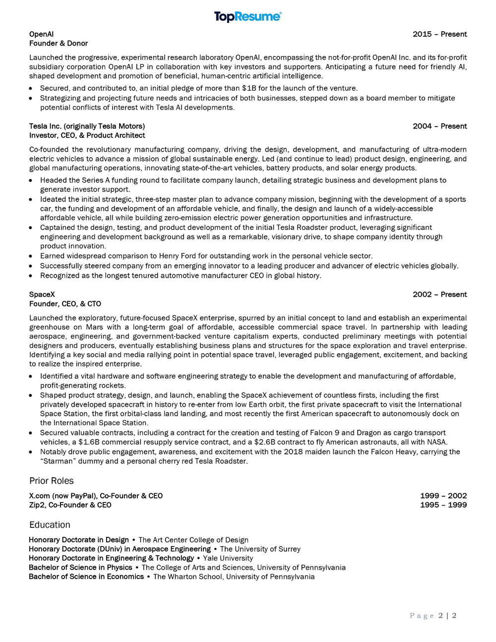 Elon Musk's Resume 2
