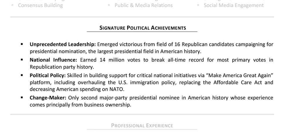 Signature Political Achievements  Political Resume