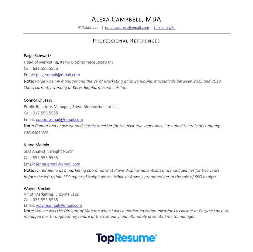 An example of how to list professional references on your resume. The example shows references from throughout a professional's career history. Each reference includes the person's name, current title, cell phone number, email, and a note on the relationship.
