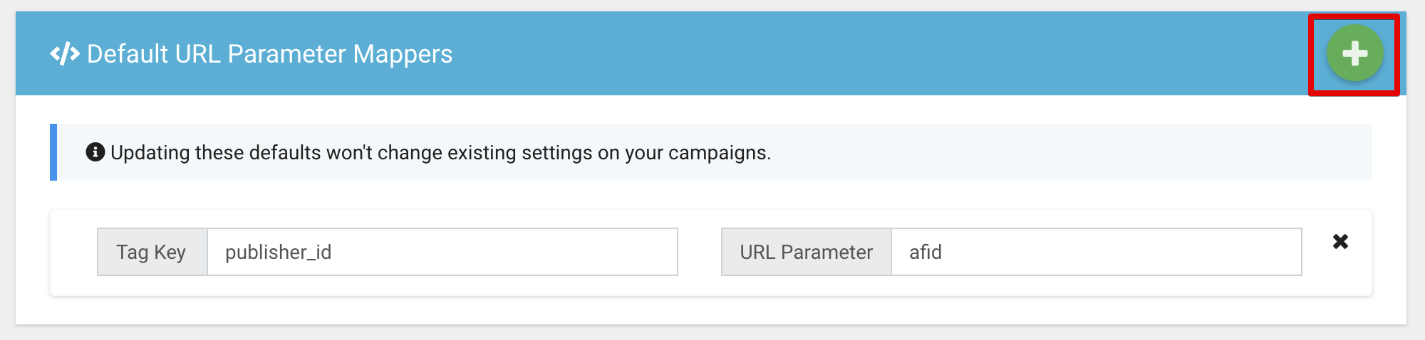 Managing company default parameter mapping settings.