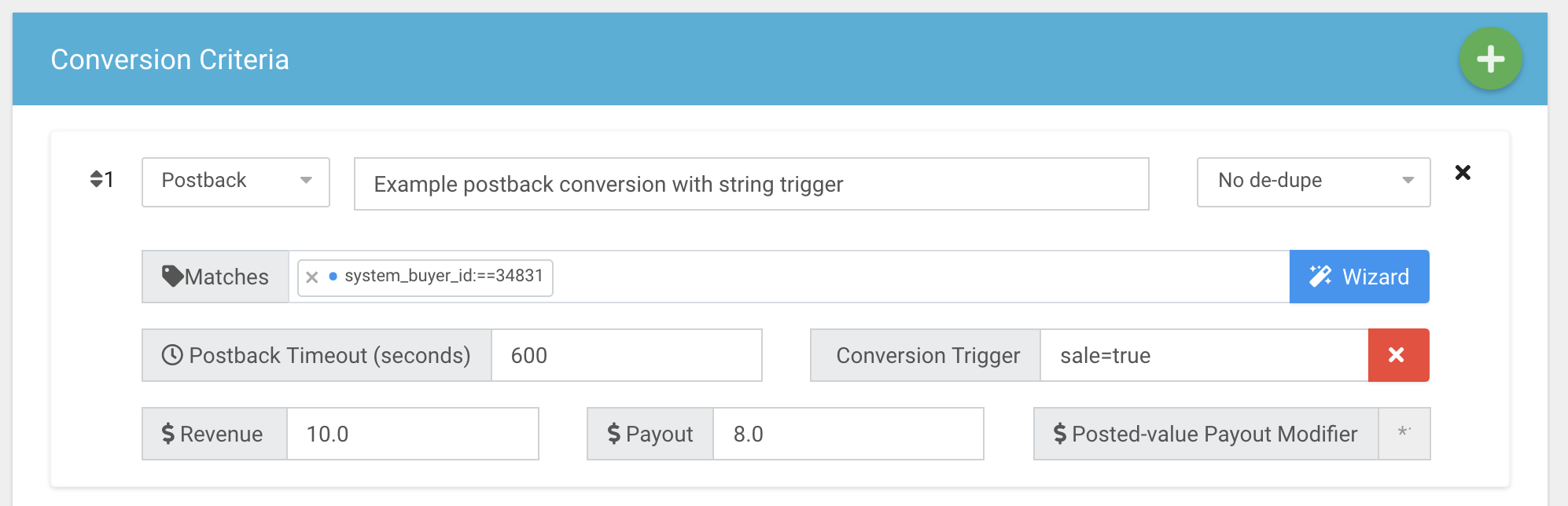 Configuring a postback conversion with string matching.