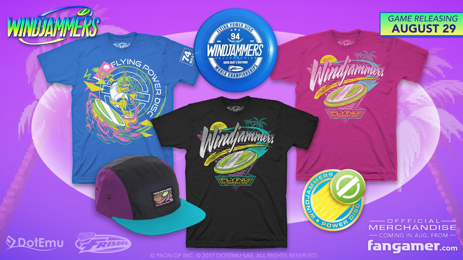 DotEmu's release includes tie-in merchandise from Fangamer, echoing a home-grown run for Windjammers tank tops by 1CC Shirts in 2015.