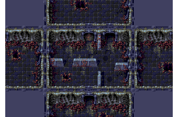 A preview of a very Contra-esque environmental tileset. Yep, that's a Nieborg joint.