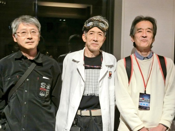 From the Dengeki Game Music Legend event held in 2007, an impromptu gathering of the Mappy development team: from right to left, Nobuyuki Ohnogi, artist Hiroshi