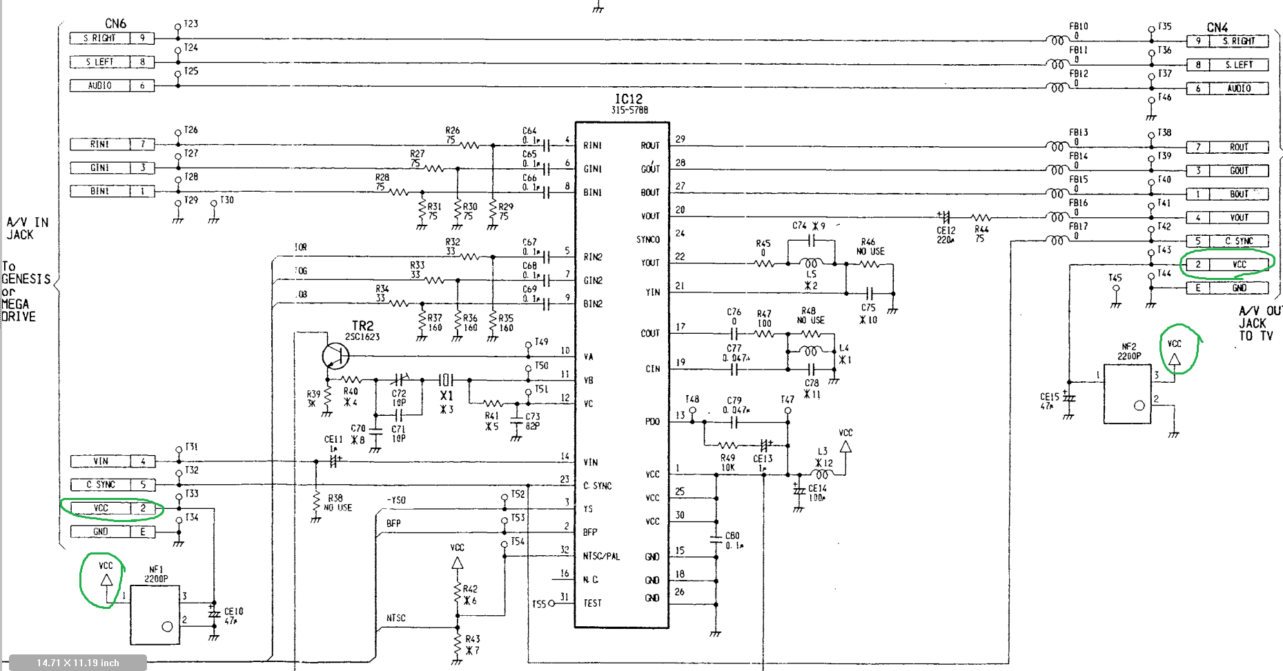 32x Retrorgb S Video Adapter To Vga Schematic Vcc Is The Internal 5v Rail Avoid Those 2220p Things As They Are Just Emi Filters So You Can Consider Them Shorts Click For Full Sized
