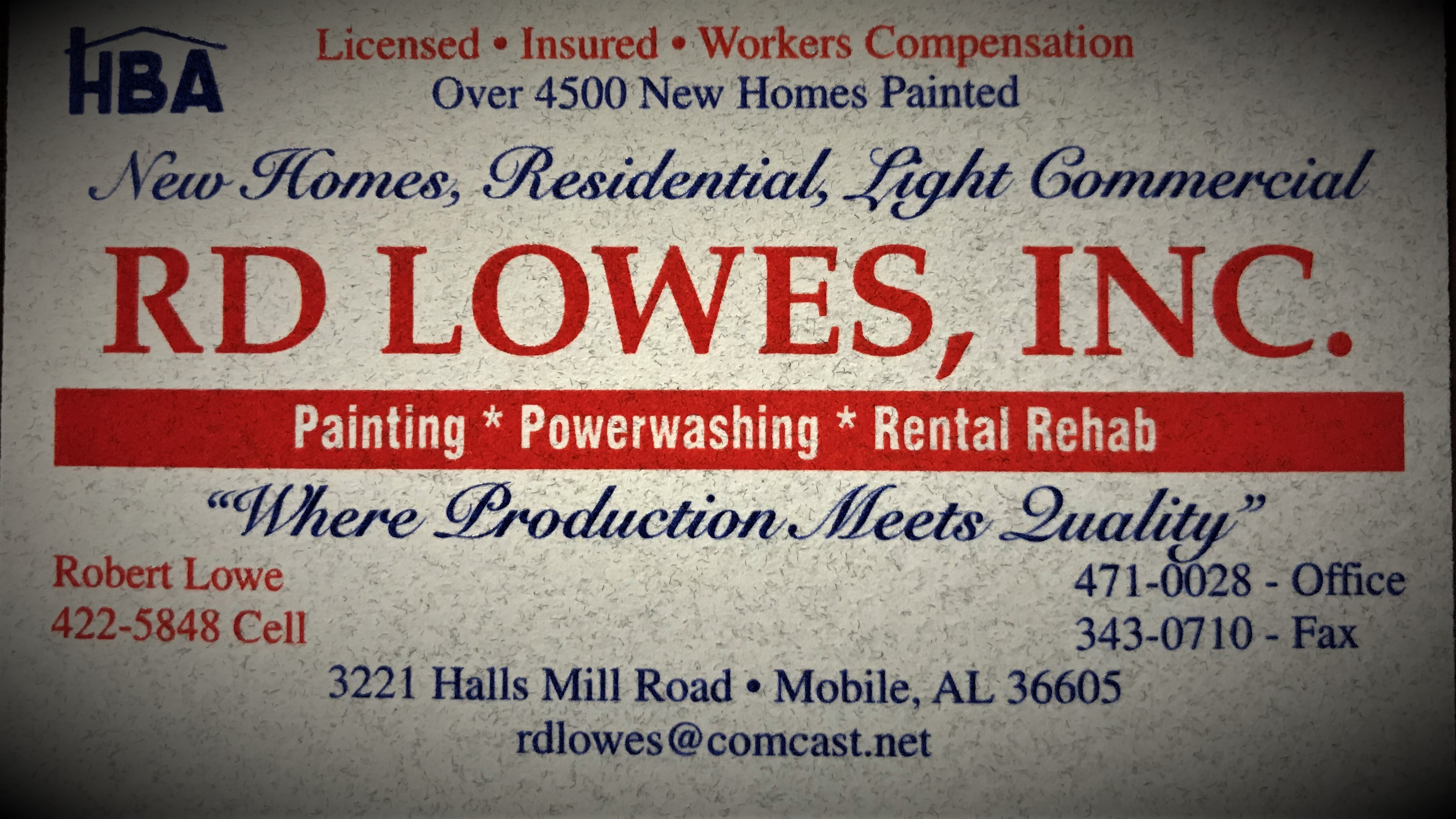 RD LOWES, INC Business Logo