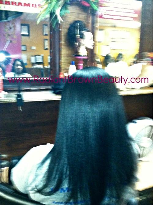 salon straightened hair