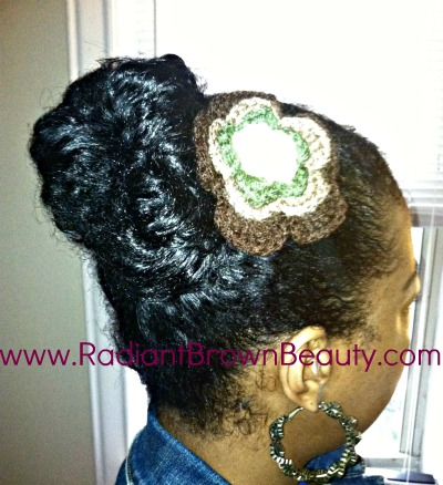 banana clipped bun with crocheted pin